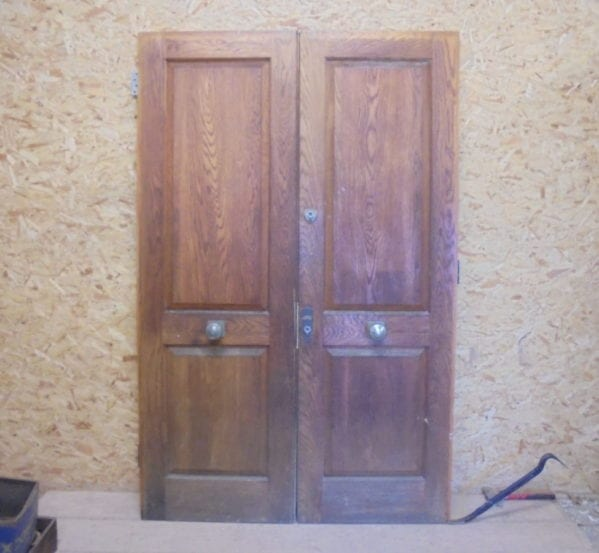 Grand Oak Two Panelled Double Doors