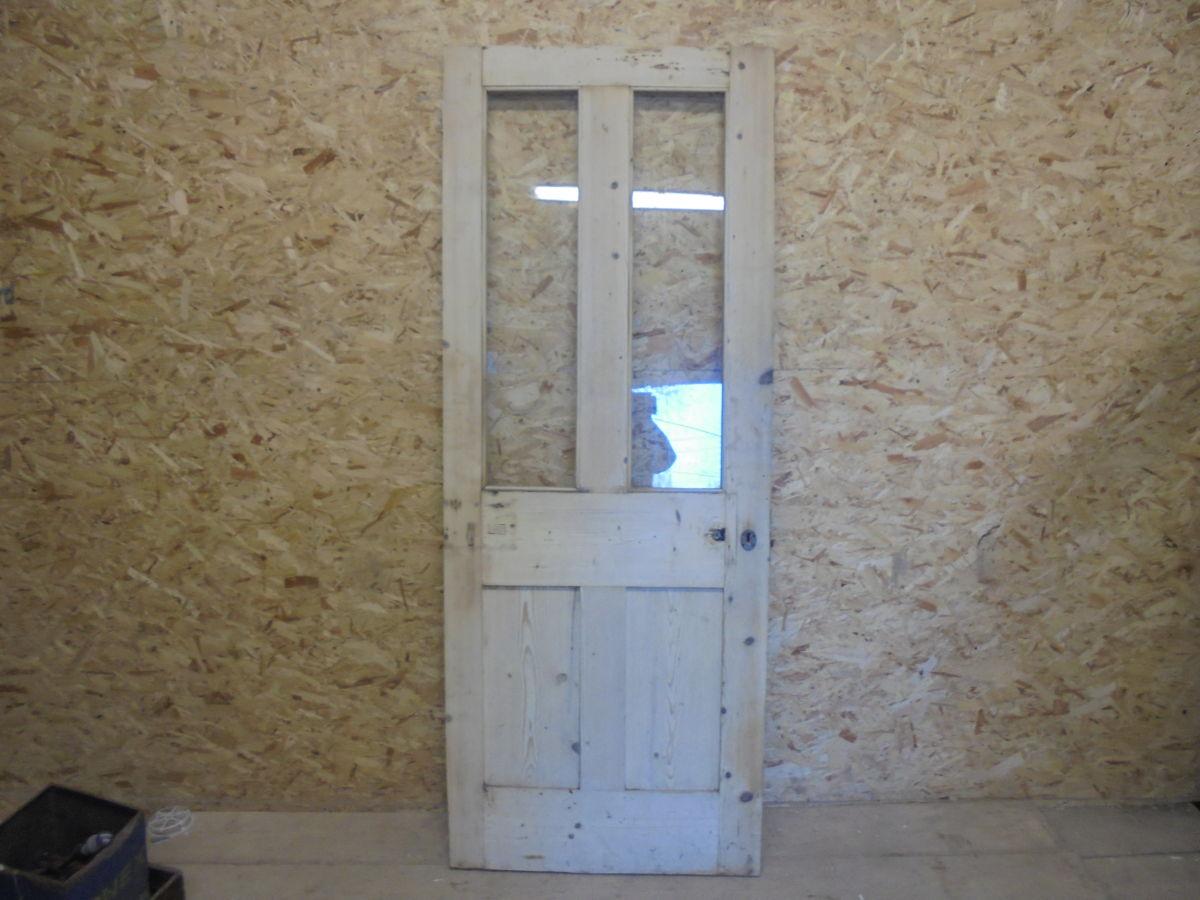 Stripped Half Glazed 4 Panelled Door