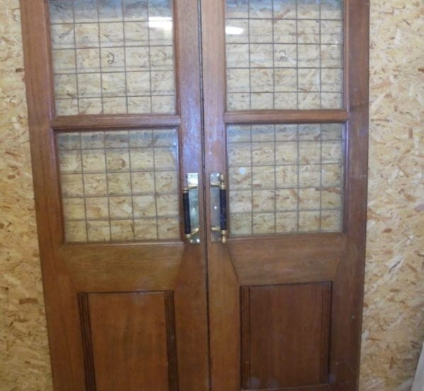 Large Oak Half Glazed Double Doors