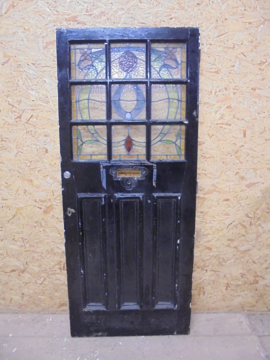 Beautiful Partial Stained Glass Front Door