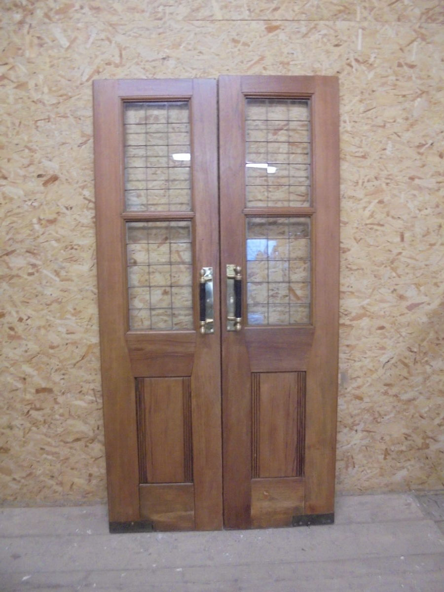 Large Thin Oak Half Glazed Double Doors