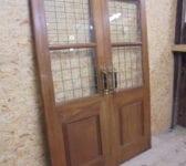 Wide Solid Oak Half Glazed Double Doors