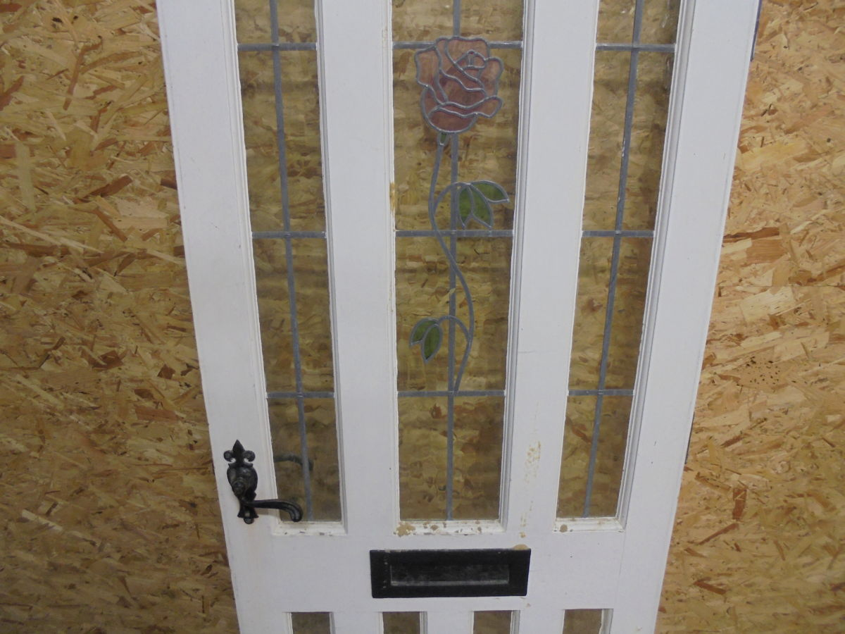Stained Glass Rose Arched Front Door