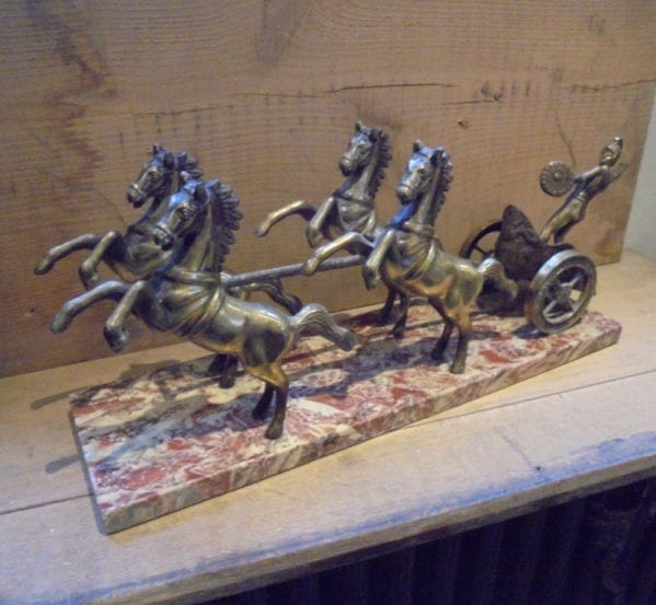 Marble Based Brass Roman Carriage