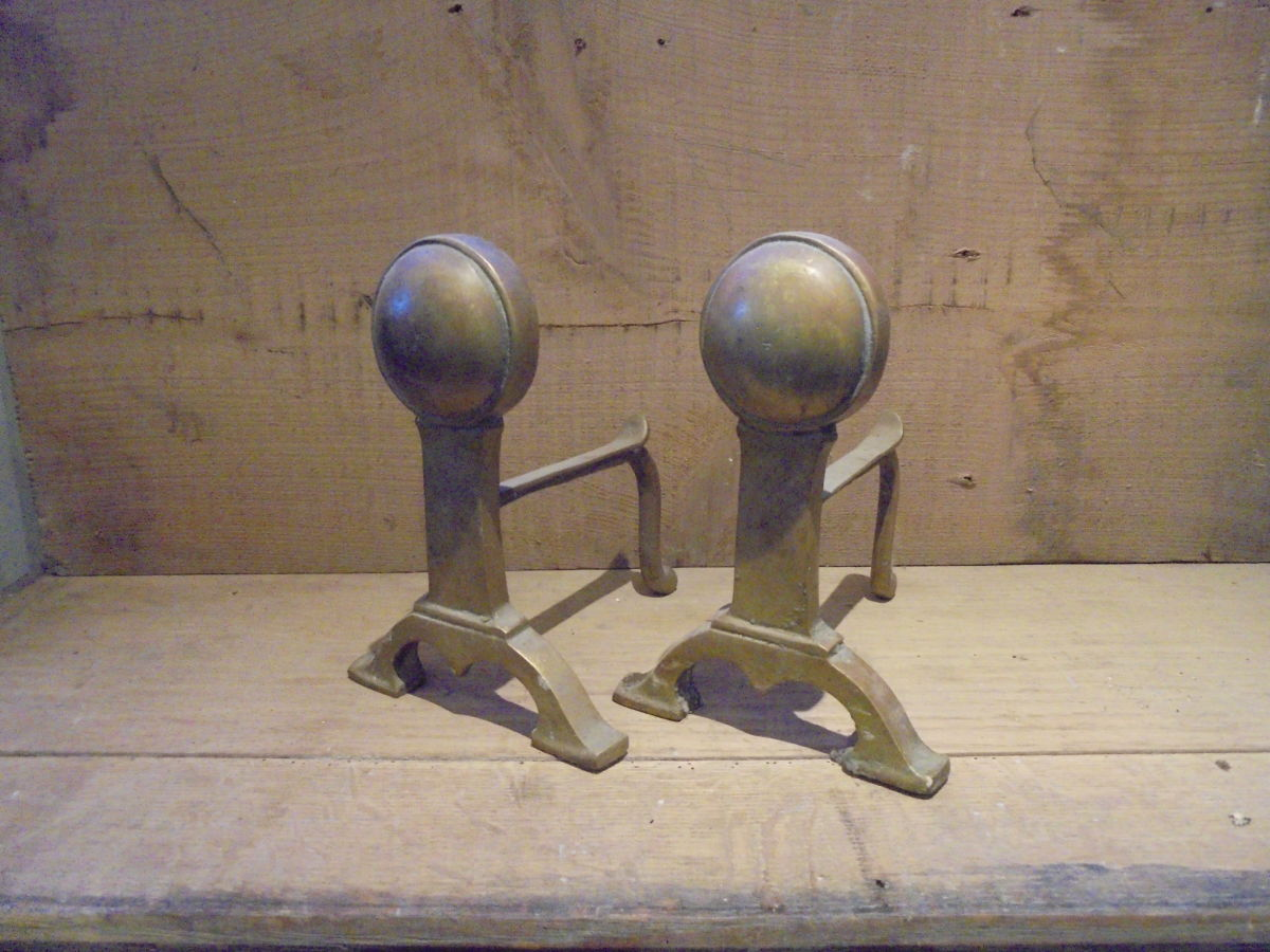 Small Arts and Crafts Brass Fire Dogs