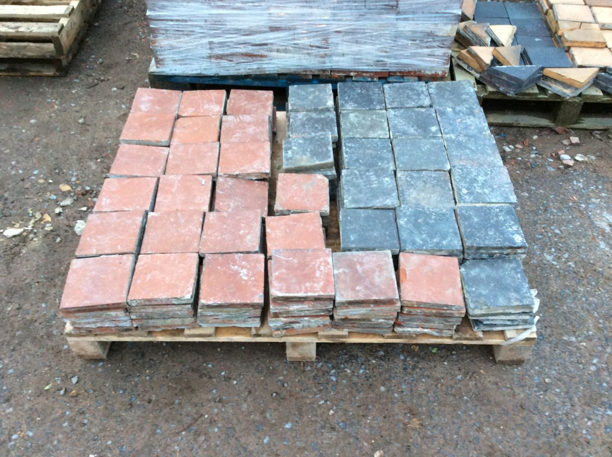 Dark Chequered Reclaimed English Quarry Tiles