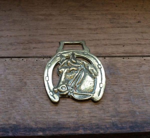 Horse Shoe & Horse Head Brass Harness Buckle