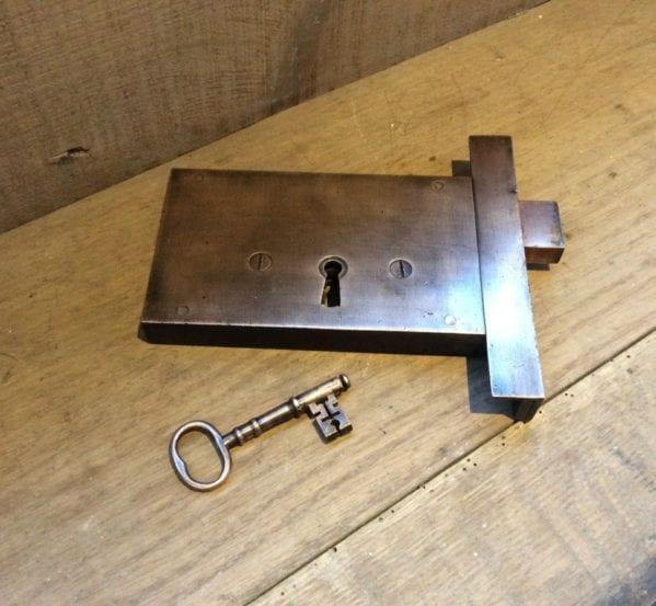 Late Georgian Solid Brass Rim Lock & Key