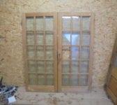 Attractive Varnished Pine 15 Panel Glazed Double Door