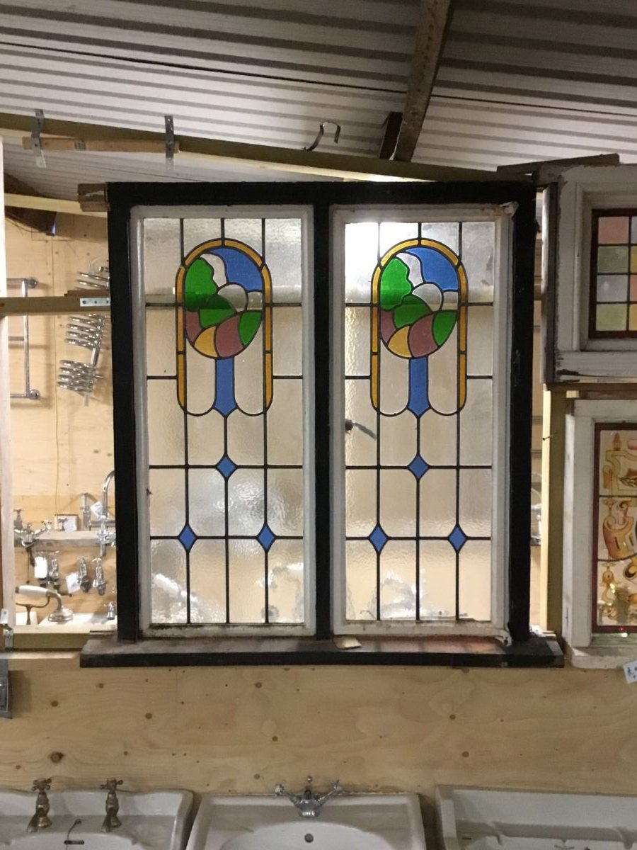 Large Pair Art Nouveau Stained Glass Window