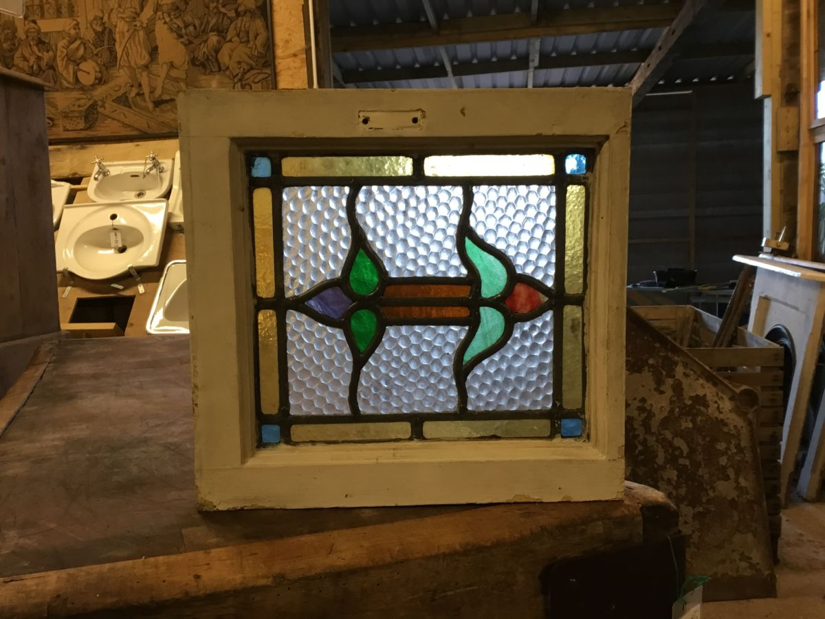 Square Double Ended Rose Stained Glass Window