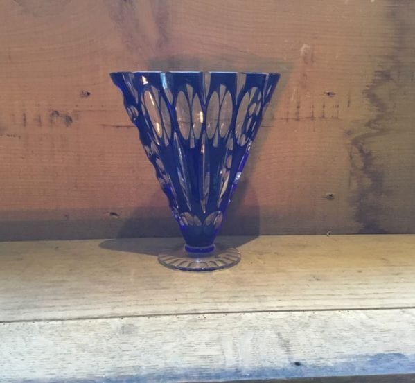 Blue & Clear Glass Vase