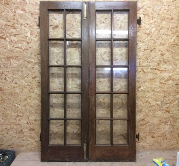 10 Pane Glazed Oak Double Doors