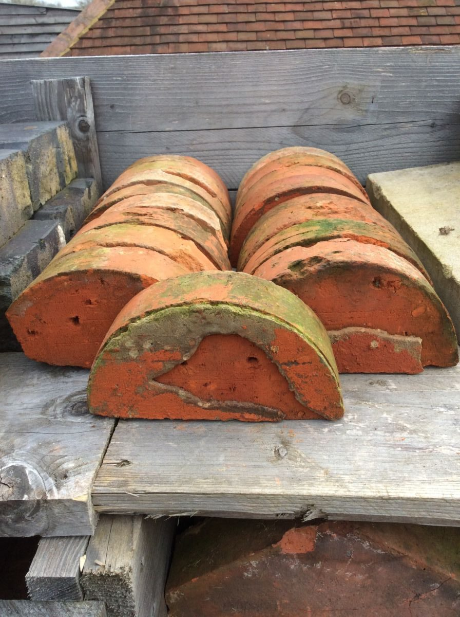 Reclaimed Orange Half Round Bricks