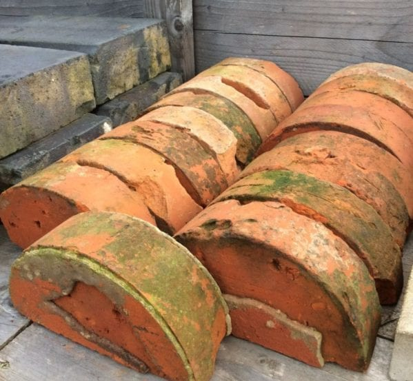Reclaimed Orange Half Round Bricks
