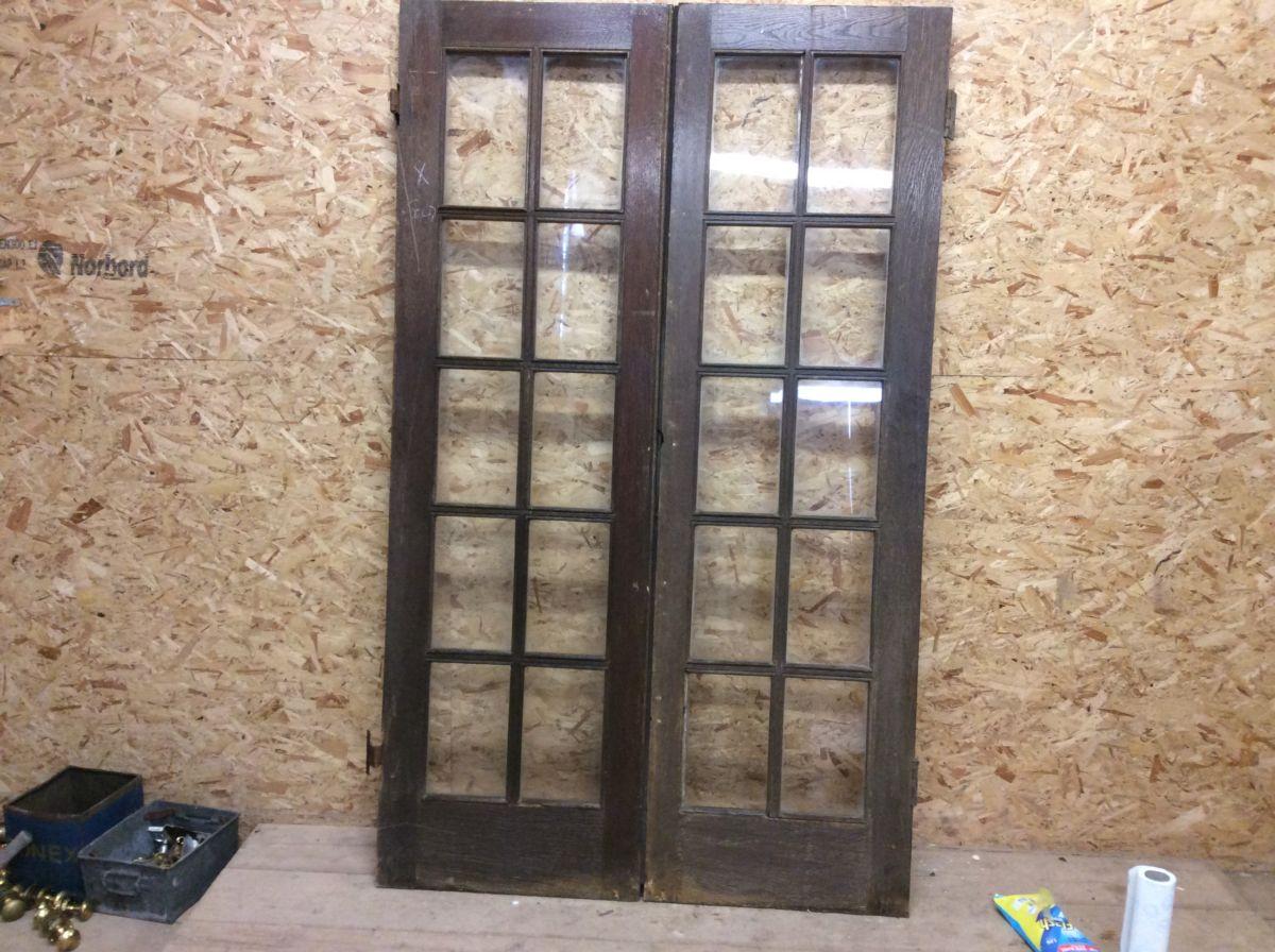 10 Pane Glazed Oak Double Doors