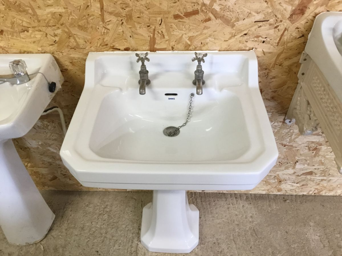 Shires White Six Sided Sink & Pedestal