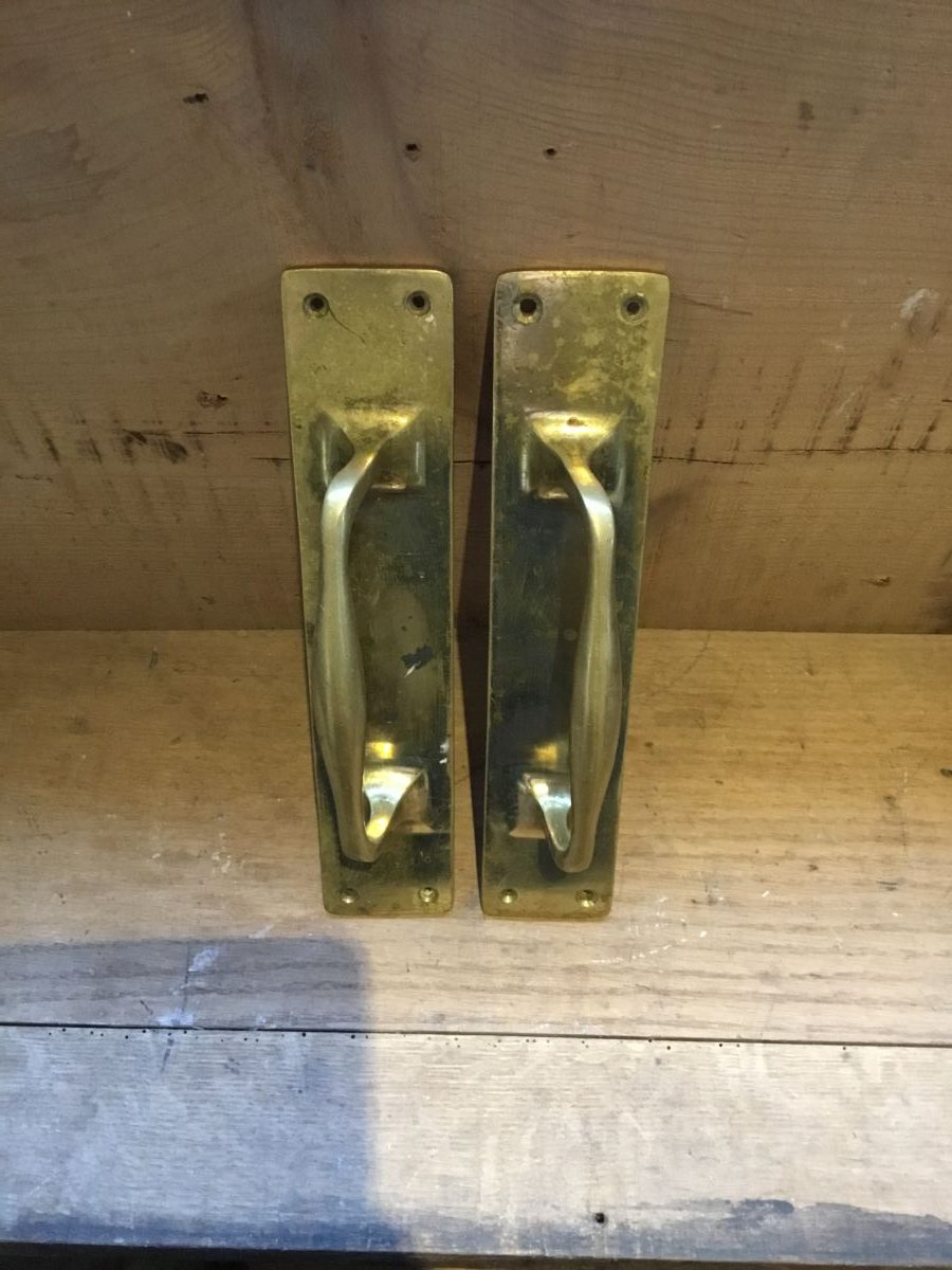 Large Polished Brass Pull Door Handles