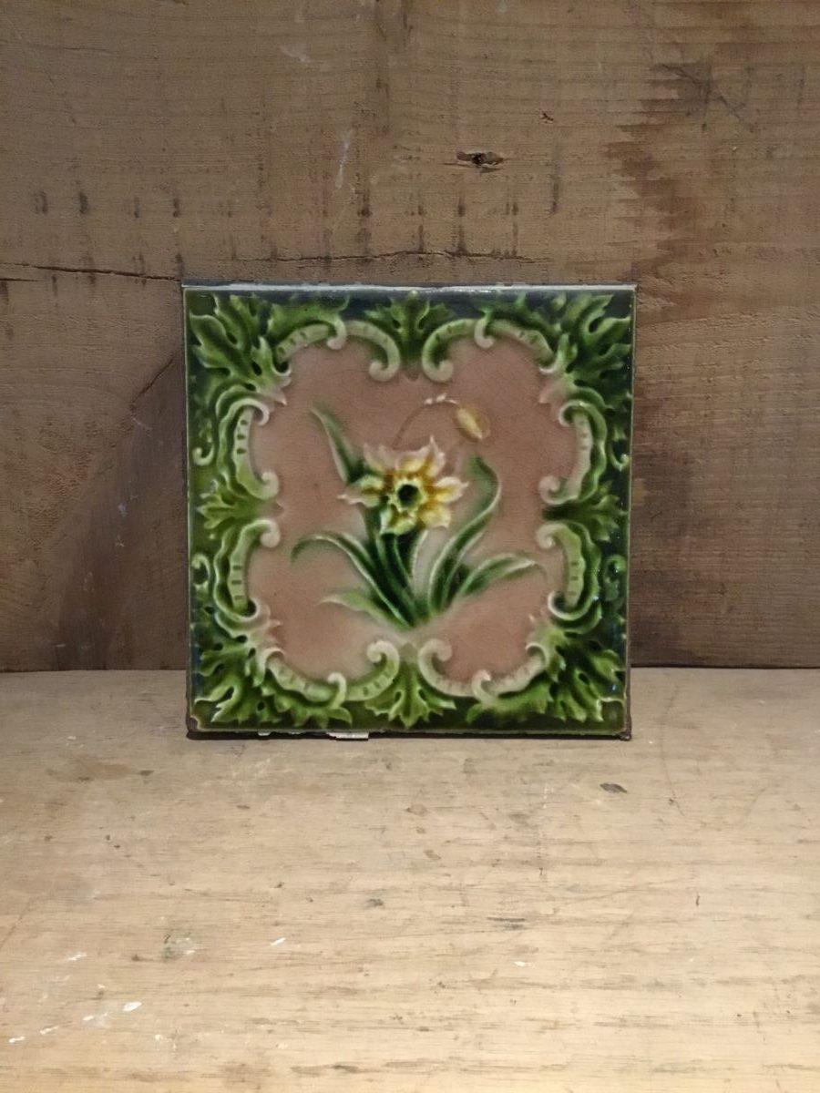 Green Yellow Flower Tiles