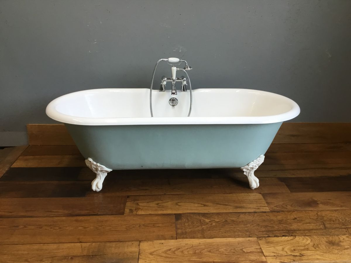 Blue Cast Iron Roll Top Bath & Feet