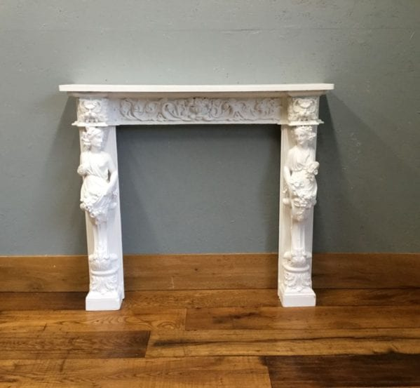 Ornate White Lady Fire Surround