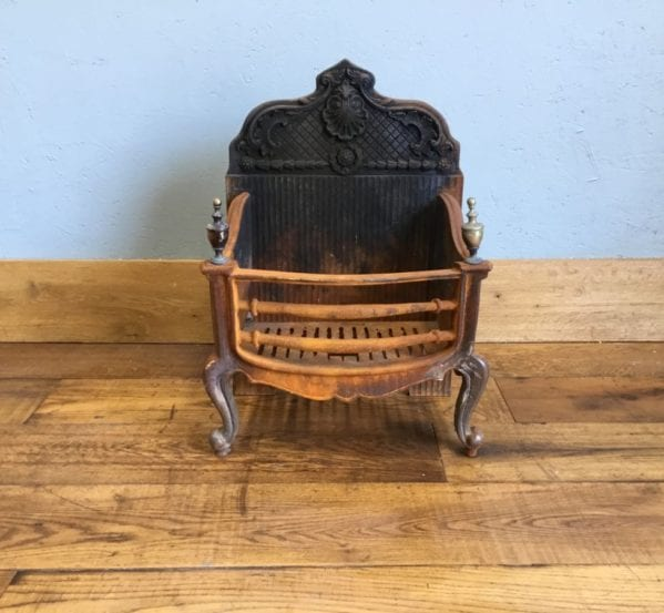 Large Cast Iron Fire Basket & Back