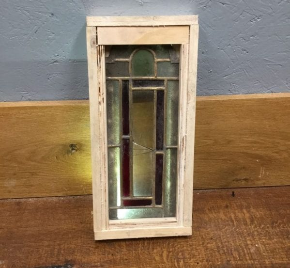 Rectangular Red & Frosted Glass Window