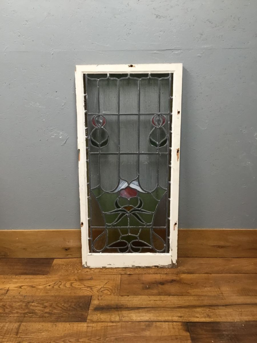 Large Rectangular Pink Stained Window