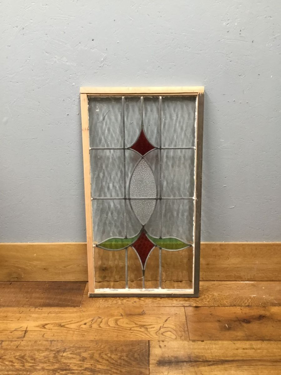 Red & Clear Glass Leaded Window