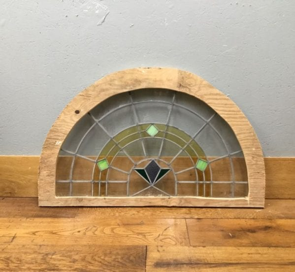 Half Round Blue & Green Glass Window