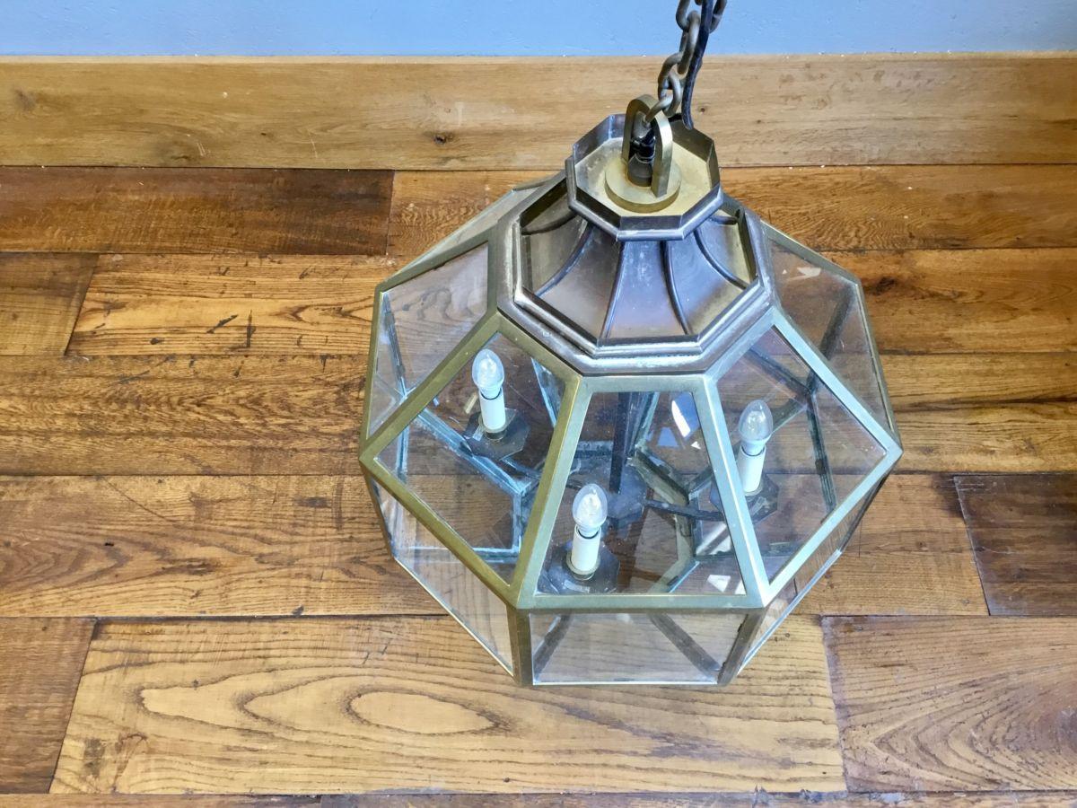 Large Brass & Glass Pendant Lights