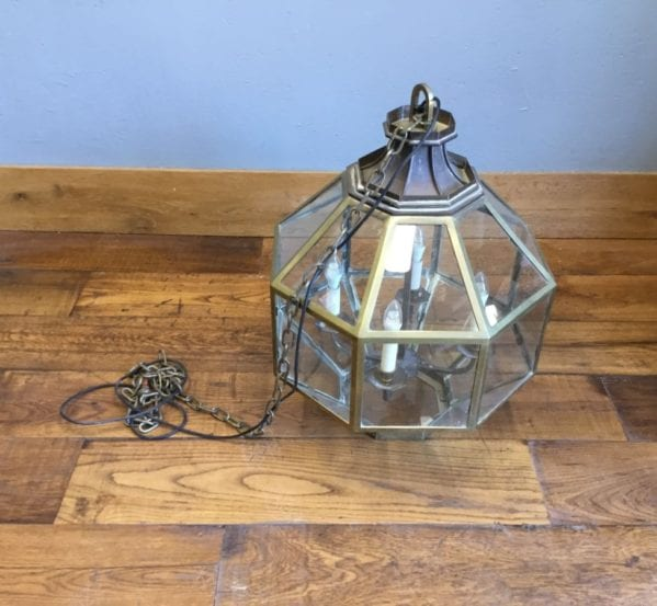 Large Brass & Glass Pendant Lights
