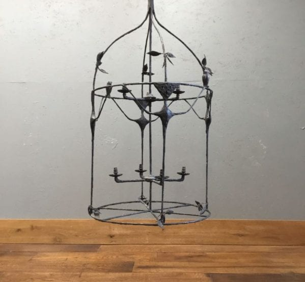 Large Birdcage Pendant Lights Pair