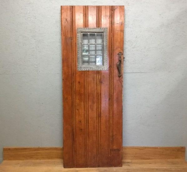 Ledge & Braced Varnished Glazed Door