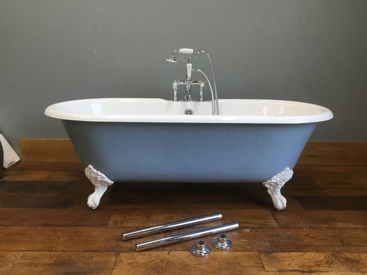 Baby Blue Cast Iron Roll Top Bath