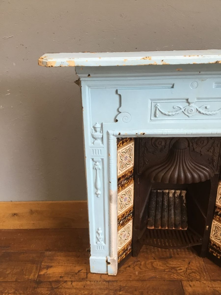 Blue Tiled Fireplace