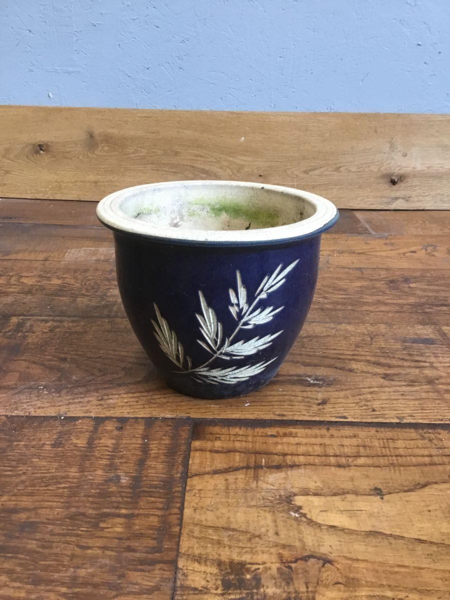 Blue Bamboo Design Pot