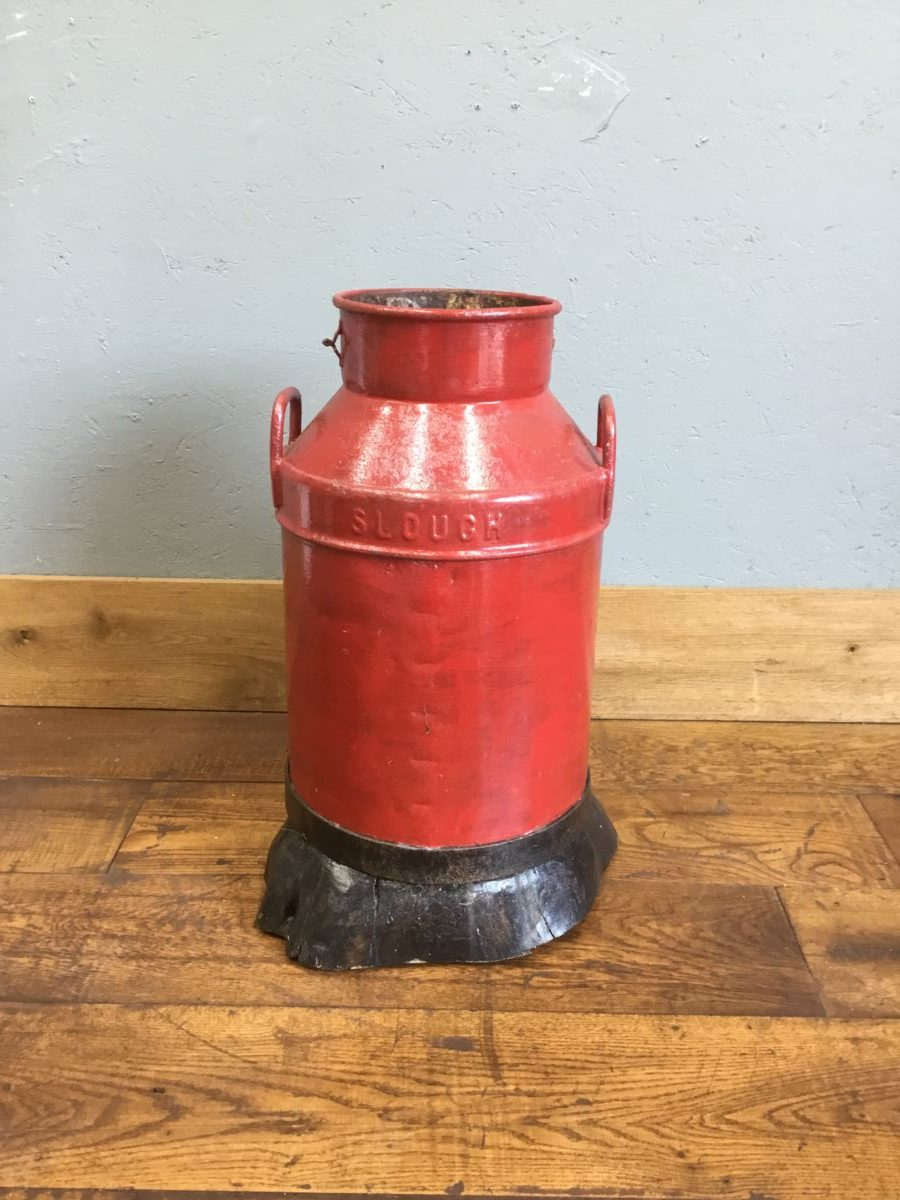 Red Painted Churn Wood Bottom