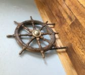 Ships Wheel On Cast Iron Stand