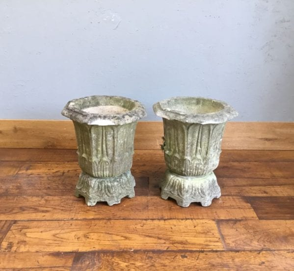 Stone Bell Shaped Planter Pair