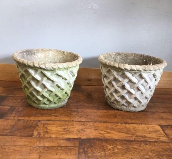 Round Woven Pattern Stone Planters