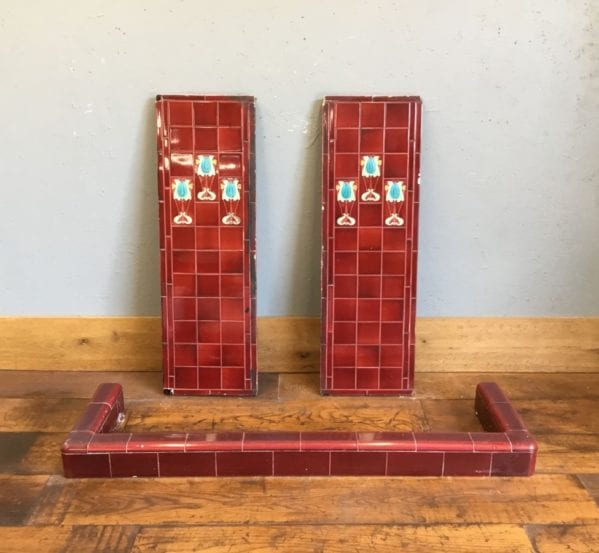 Red Fireplace Tiled Panels