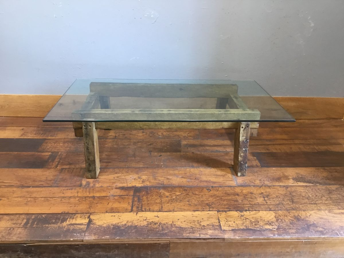 Oak Coffee Table With Glass Top