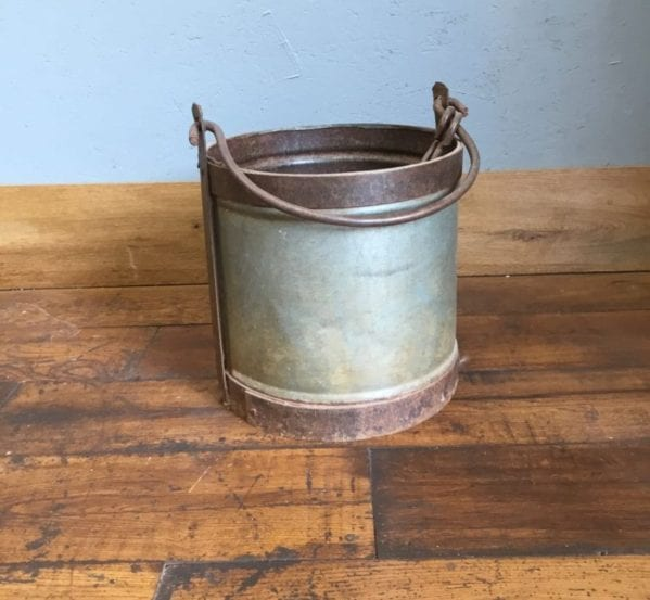 Metal Bucket With Copper Trim