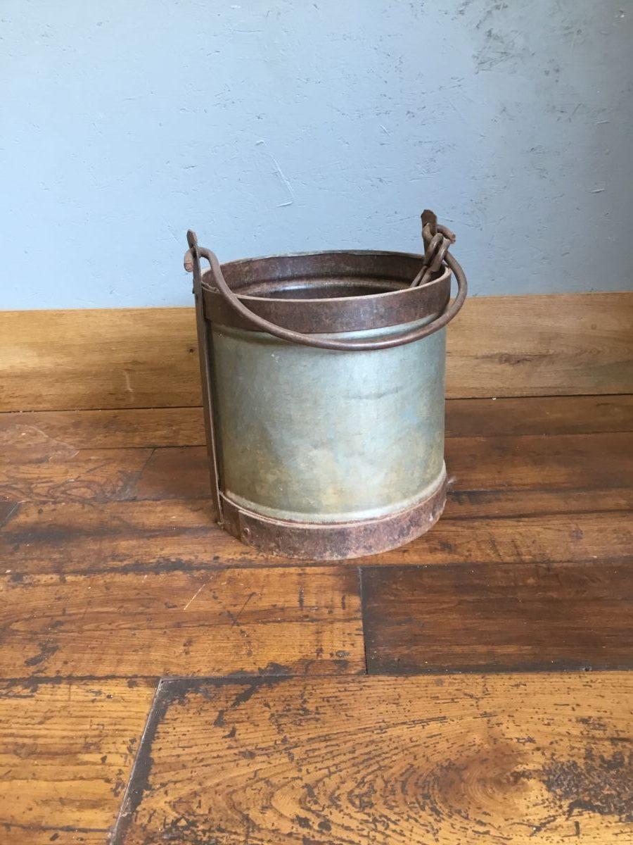 Metal Bucket With Copper Trim
