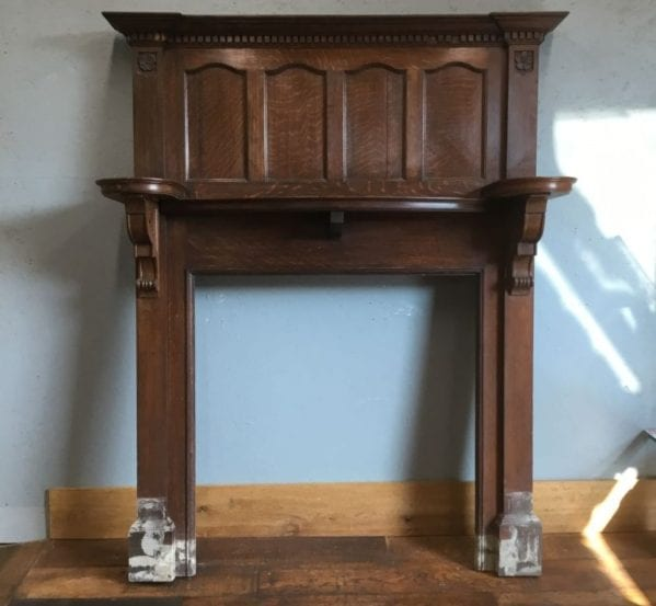 Large Dark Fire Surround & Overmantel
