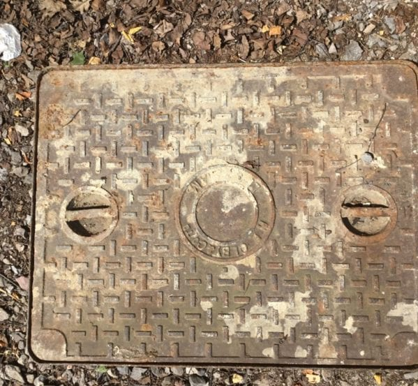 Cast Iron Double Handled Reclaimed Man Hole Cover