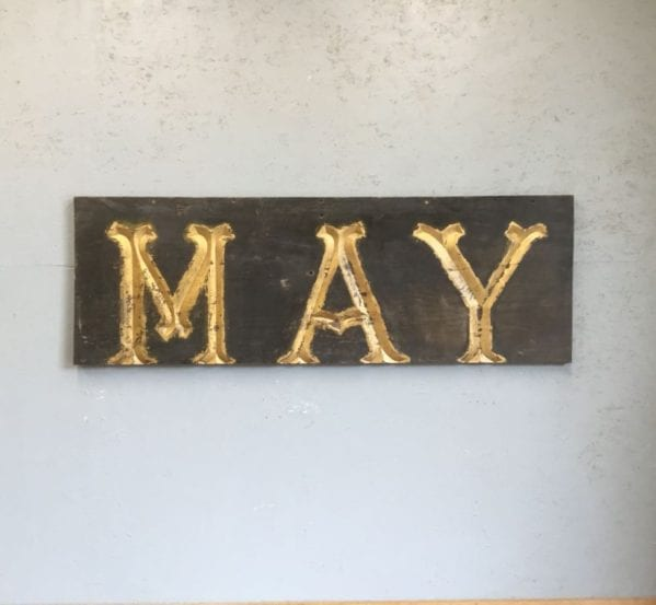 'MAY' Solid Wood Sign