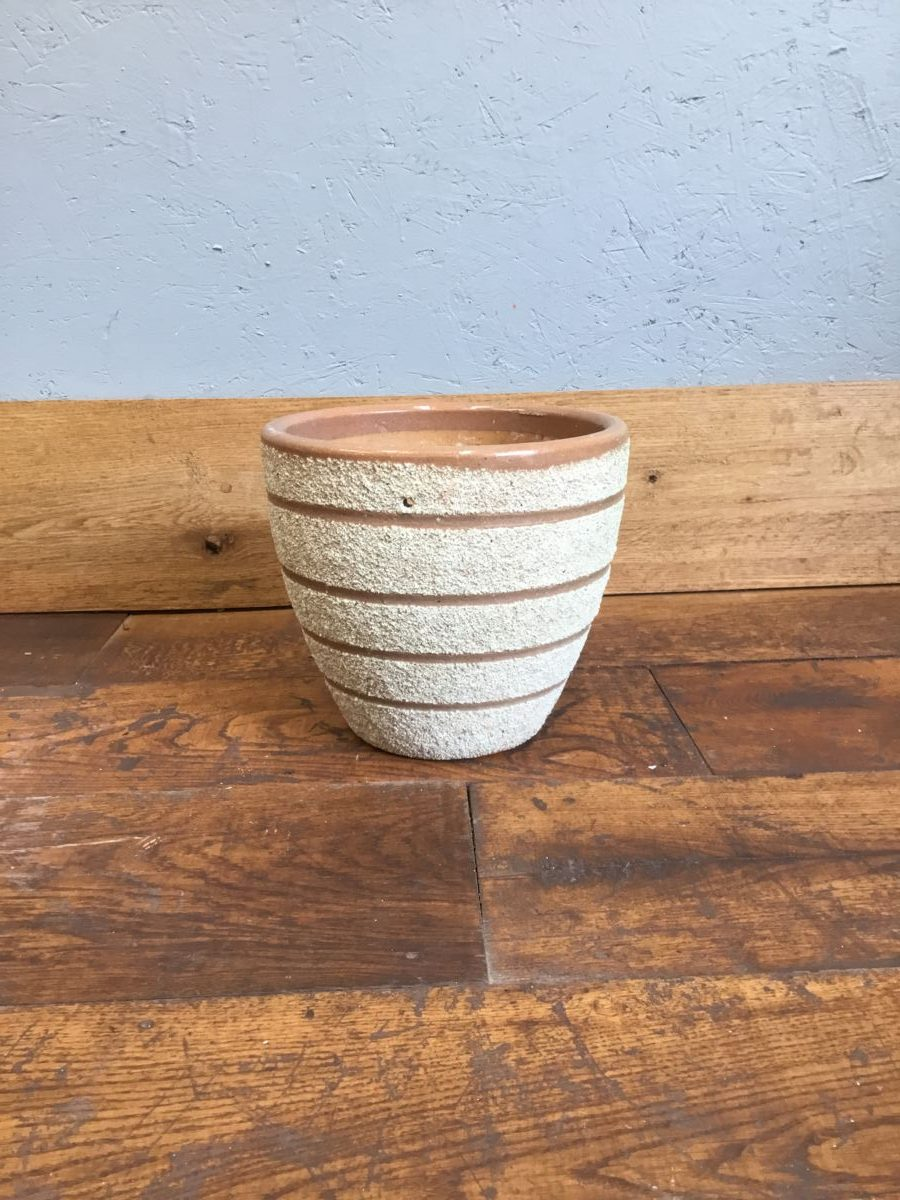 Textured Beige Band Pot