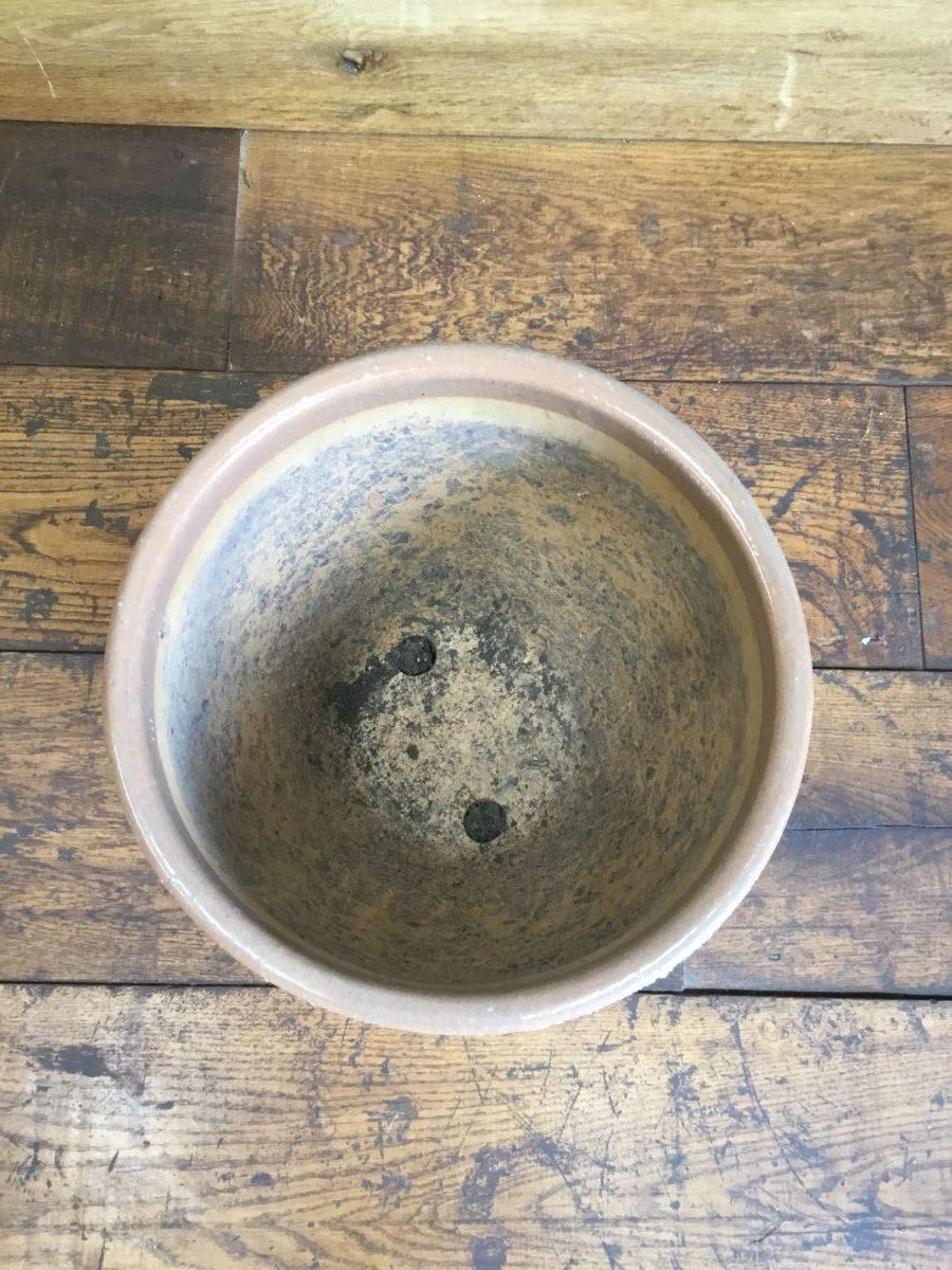 White Textured Band Pot